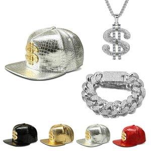 Men Hip Hop Gold Cap Letter A Cap Hat +Necklace+Bracelet Set Jewelry Diamond Out Cuban Chian Luxury Jewelry Set For Men