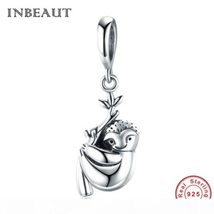 wholesale 925 Sterling Silver Lovely Sloth Beads Jewelry Making,Cute Tree Animal Charm,S925 fit Pandora Bracelet Pendant