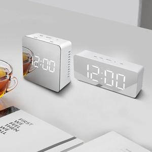 Square Rectangle LED Digital Mirror Wall Clock Night Light Wake up Alarm Clock Desk Clocks Temperature Display Home Decora Clock