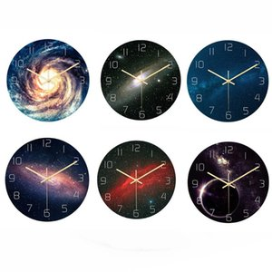 30cm 6 Styles Mute Sweep Starry Sky Clock Wall Clock Wall Stickers For Living Room Decor Moment Decor On The