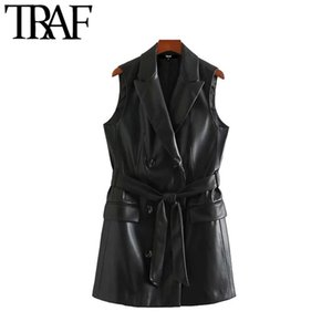 TRAF Women Street Fashion Double Breasted PU Faux Leather Waistcoat Vintage With Belt Pockets Female Outerwear Chic Top 201031