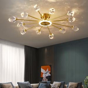 Brass потолочные светильники столовой Кухня фиксатору привело потолочные светильники освещение спальни Кристалл абажур потолок светлая гостиная 110v 220v