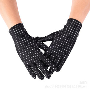 Frühling und Sommer Damen Spandex Handschuhe hohe elastische Tupfen-dünne Handschuhe Sonnenschutz Etiquette Mode Short Thin