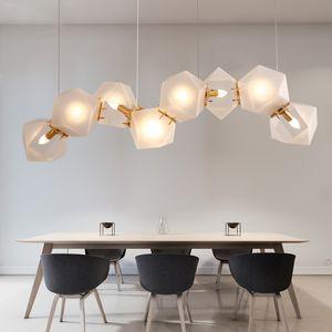 Nordic Irregular geometrical Glass Chandelier Lighting Modern Art Deco Hanging Light For Villa LED Light Fixture  Suspension