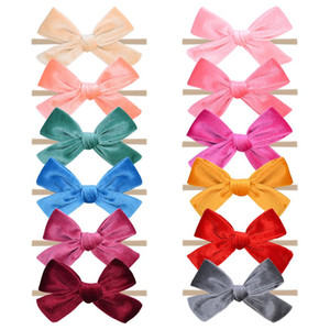 12pcs lot Solid Hair Bows Nylon Baby Headband For Girls Elastic Hair Band Boutique Hairband Turban Headwear Hair Accessories Q bbyeKq