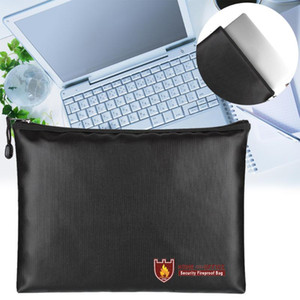 Document Bag Valuables Large Space Zipper Closure Envelope Pouch Fireproof Waterproof Practical Safe