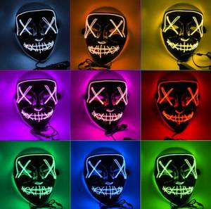 máscaras de terror Halloween LED Glowing Máscaras máscara Purge Máscaras Eleição Mascara traje DJ Party Light Up Brilho In Dark 10 cores Artigos para Festas