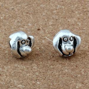 100pcs Antique Silver Golden Retriever Dog Head Alloy Big Hole Bead Fit European Beads Bracelet DIY Jewelry F-8