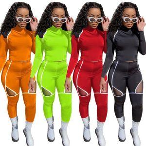 Outono listrado Treino Mulheres Two Piece Set Long Sleeve Pants Suit Yoga Sports Roupa Correndo Sportswear fitness equipamentos novos