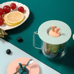Tapa de la taza de silicona Encantadora oreja de conejo a prueba de fugas Tapa a prueba de polvo para el hogar de sellado para el hogar Lids de sellado multiusos GWD4256