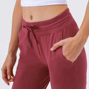 Xiaobaigou Pantalones de yoga de la cintura alta joggers de la cintura para mujer Secado rápido Elástico Running Gimnasio Fitness Mujeres Pantías sueltas Fit Entrenamiento Leggings Medias