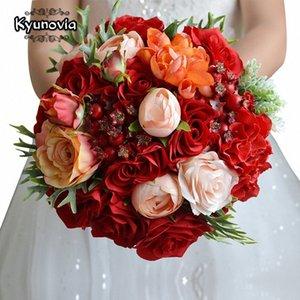 Kyunovia Fleurs de mariage Bouquet de mariée accessoires de mariage bouquet Roses rouges mariée mariée tenant des fleurs FE18 Pshk #