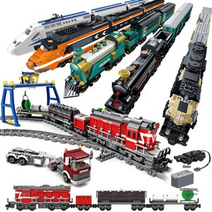 Technic City Remote Control Harmony High-speed Rail Electric Car Building Blocks RC Train Track Bricks Toys For Children