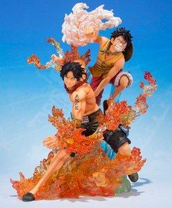 19 CM ONE PIECE Figura Tamashii Unidas Figuarts ZERO coleção Figura - Monkey D. Luffy Portgas D. Ace do irmão de Bond 1008