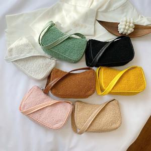 2020 Kış Sonbahar Moda Woemn kare Tote çanta Sevimli Yün Kadın Tasarımcı Çanta Bayanlar Koltuk altı Omuz Çantaları Bolsas