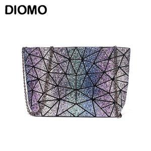 Diomo Novo Laser Glitter Pequeno Ombro Mulheres Messenger Bag Geométrico Chain Bolsas Adolescente Garota Arco-íris Color Bolsa Q1230