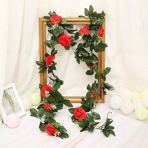 Ev Bahçe Dekorasyon DIY Düğün Kemerler Garland XByw için # 33pcs Yeşil Yapraklar ile 240cm 11pcs Yapay Güller Çiçek Vines Rattan