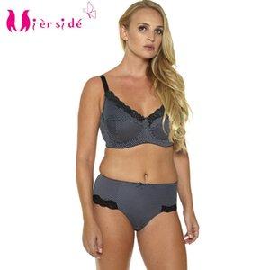 Mierside Hot Women Sexy Underwear Big Size Printing Plus Bra Set 36-46C D DD DDD E F G sexy casual brief and bralette BL953P Set Y200708