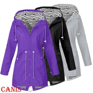 2020 Newest Women Outdoor Coat Fashion Women Rain Jacket Outdoor Waterproof Hooded Long Sleeve Zip Raincoat Windproof Plus Size