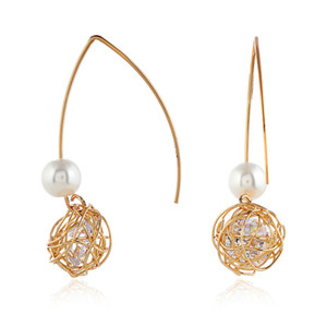 Gold filament wound wire ball ear nail retro bird's nest Korean style exquisite elegant pearl earrings earrings