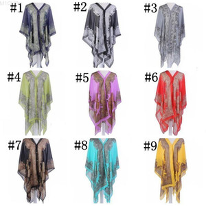 Sunscreen Shawl Driving Beach Wraps Chiffon Thin Coat Scarves Print Bikini Cover Ups Women Poncho Fashion Wrap Sexy Pashmina Cape DHC2634
