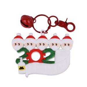 Рождественский орнамент 2020 Карантин Family Key Holder брелоков Брелки с Xmas Белл DIY Рождество Поздравительные слова карты Xmas Tree ToysE92802