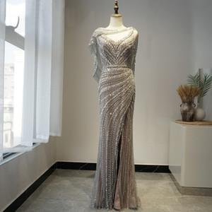 LYRASUE Column Silver Cap Royal Style Shinning Beading Heavy Handle Work Zipper Back V Neck Formal Evening Dresses Prom Dresses LY102203