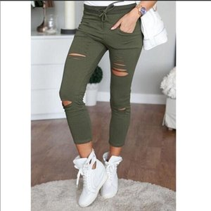 2020 Solid Color Women Ripped Slim Denim Jeans Boyfriend Jeans Sexy Hole Pencil Trousers Cropped Stretch Skinny Pants