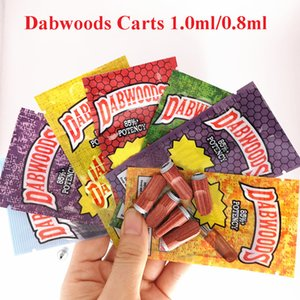Dabwoods Carts Pen Cartridges 1ml 0.8ml Glass Tanks Wood Tip Ceramic Cell Coil Empty Vaporizer Pen Thick Oil Cartridge 510 Carts with bags