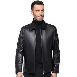 Chaqueta de piel de oveja de piel sintética de cuero para hombre de primavera envejecida media y abrigo de otoño