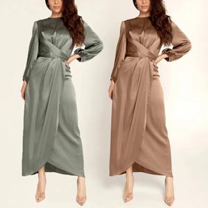 Muslim Women Simple Abaya Evening Party Gowns Bangladesh Abayas Arabic Kaftan Turkish Silk Dress Kimono Islamic Clothing
