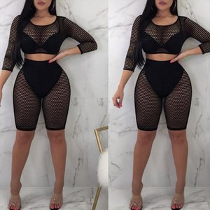 Women Summer Casual Solid O neck Three Quarter sleeve tops shorts two piece set Female Suit Set Womens Costumes