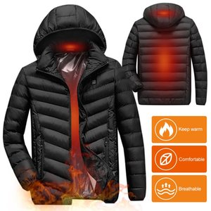 Electric Heating Cotton Coat Men Women USB Charging Heated Jacket with Removable Hood for Walking Camping Ice Fishing Skiing
