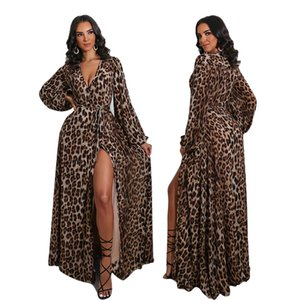 Leopard Print Women Sexy Deep V-neck Party Dresses Lady Autumn Lantern Sleeve Lace-up Slim Waist High Waist Floor-length Dress