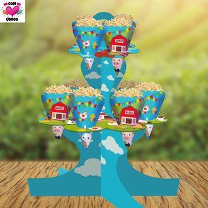 Conunico Farm Animal Party Supplies Tableware Farm Birthday Set Birthday Party Decor. Cupcake Stand 2 Tier + Paper Bag FA5070