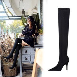 Spring Ladies Blade Heels Pleated Velvet Thigh Boots Women Metal High Heels Over the Knee Pointed toe Female Slip on Botas Shoes