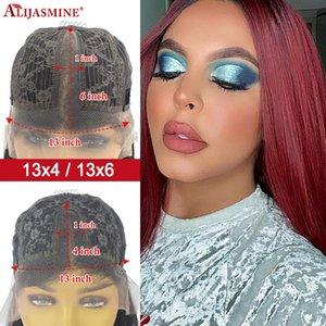 Pelucas delanteras del 99J Bob peluca de Remy Bob cordón para las mujeres Negro 150% Densidad 8-16inch Rojo Borgoña color pelucas de cabello humano