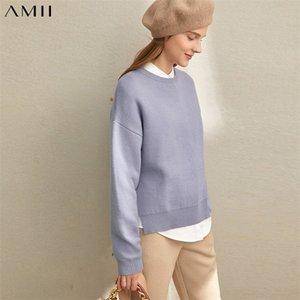 Amii invierno mujeres vintage tejido suéteres hembra elegante sólido suelto split jersey suéter tops 11940643 201221