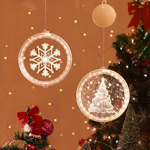 3D Рождество висячего света круглого окно Decortive Снежинка Santa Star Строка Xmas украшение Компоновка Светой партия украшение HHA2031