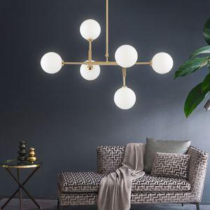 Moderne Laiton Bronze 6-Light Gold Dinning Pendentif Chambre lampe et métal lait en verre blanc Boule Suspendu Lampes pour Chambre Salle à manger