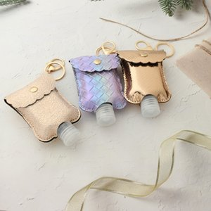 Hand sanitizer Holder keychain Leather Mermaid Portable alcohol Disinfectant water Button Split Cup Cover O key rings