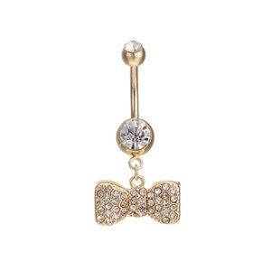 Designer Sexy Dangle Belly Bars Belly Button Rings Belly Piercing Cz Crystal Bowknot Body Jewelry for Sexy Ladiesfree Shipping