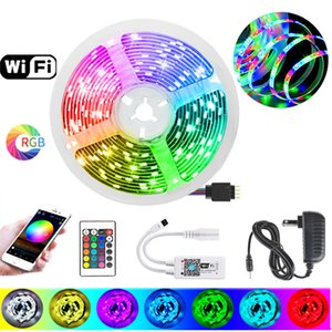 20m 15m 10m 5m LED Strip RGB Light 2835 Smart Tape Lights WiFi Flexible Ribbon Diode Strips Kit Music Sensor Remote Control + Adapter