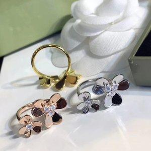 Frauen Diamant Blumen Silber Ring Frivole Ringe Frau Hochzeit Klee Ringe