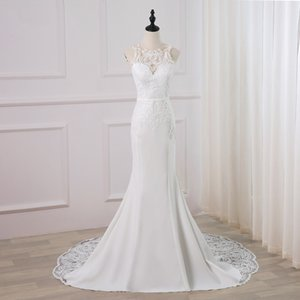 Jiayigong Sexy Vestido Vestido Novia O-Cuello Sin mangas Apliques Sweep Train Sirena Vestidos de boda Robe de Mariage Q1113