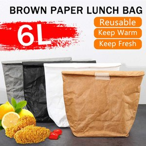 6L Brown Paper Lunch Bag Reusable Box Sack Durable Insulated Thermal Kraft Paper Bag Snack Cooler Picnic Container