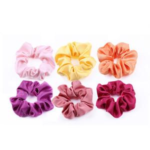 Bande di alta qualità Satin Hair gomma Suit solido tessuto di colore 50 Colore imitazione seta Intestino crasso capelli anello accessori