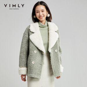 Vimly Faux Fur Jacket Women Elegant Lapel Double Breasted Pockets Contrast Vintage Winter Thick Warm Female Coats 30039