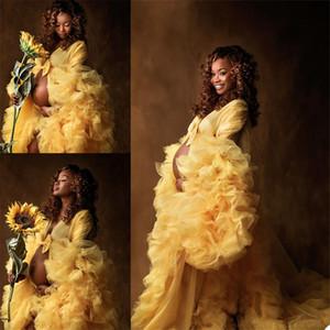 Ruffles Night Robe Yellow Maternity Dress for Photoshoot or Babyshower Photo Shoot Lady Sleepwear Bathrobe Sheer Nightgown