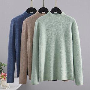 GIGOGOU mujeres básicas del suéter de cuello alto con capucha caliente grueso Top Otoño Invierno visón de punto de cachemir suéter de la Navidad Tire Femme 201016